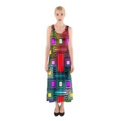 Art Rectangles Abstract Modern Art Sleeveless Maxi Dress