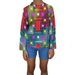 Art Rectangles Abstract Modern Art Kids  Long Sleeve Swimwear