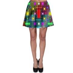 Art Rectangles Abstract Modern Art Skater Skirt