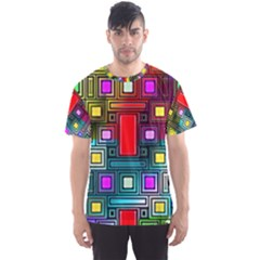 Art Rectangles Abstract Modern Art Men s Sport Mesh Tee