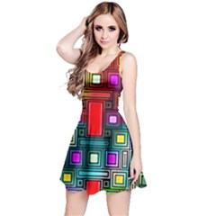 Art Rectangles Abstract Modern Art Reversible Sleeveless Dress
