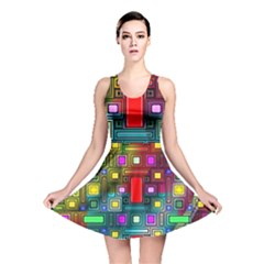 Art Rectangles Abstract Modern Art Reversible Skater Dress