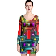 Art Rectangles Abstract Modern Art Long Sleeve Bodycon Dress