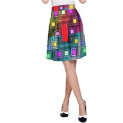 Art Rectangles Abstract Modern Art A-Line Skirt
