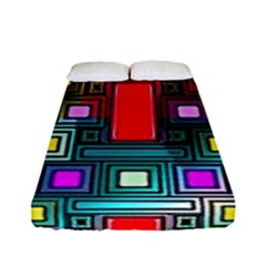Art Rectangles Abstract Modern Art Fitted Sheet (Full/ Double Size)