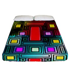 Art Rectangles Abstract Modern Art Fitted Sheet (Queen Size)