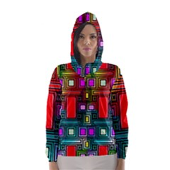 Art Rectangles Abstract Modern Art Hooded Wind Breaker (Women)