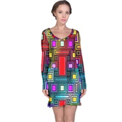 Art Rectangles Abstract Modern Art Long Sleeve Nightdress