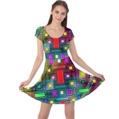 Art Rectangles Abstract Modern Art Cap Sleeve Dresses
