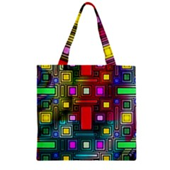 Art Rectangles Abstract Modern Art Zipper Grocery Tote Bag