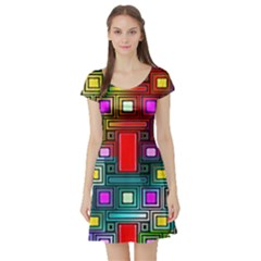 Art Rectangles Abstract Modern Art Short Sleeve Skater Dress
