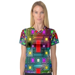 Art Rectangles Abstract Modern Art Women s V-Neck Sport Mesh Tee