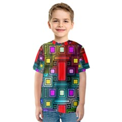 Art Rectangles Abstract Modern Art Kids  Sport Mesh Tee
