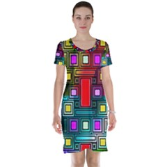 Art Rectangles Abstract Modern Art Short Sleeve Nightdress