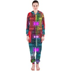 Art Rectangles Abstract Modern Art Hooded Jumpsuit (Ladies)