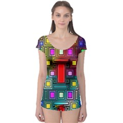 Art Rectangles Abstract Modern Art Boyleg Leotard