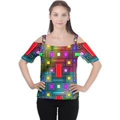 Art Rectangles Abstract Modern Art Women s Cutout Shoulder Tee