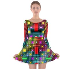 Art Rectangles Abstract Modern Art Long Sleeve Skater Dress