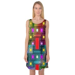 Art Rectangles Abstract Modern Art Sleeveless Satin Nightdress