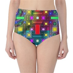Art Rectangles Abstract Modern Art High-Waist Bikini Bottoms