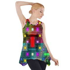 Art Rectangles Abstract Modern Art Side Drop Tank Tunic
