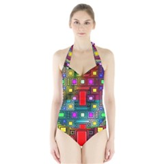 Art Rectangles Abstract Modern Art Halter Swimsuit