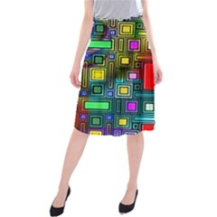 Art Rectangles Abstract Modern Art Midi Beach Skirt