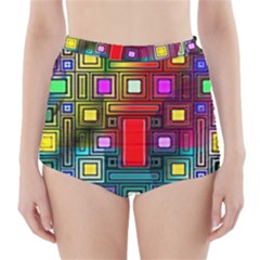 Art Rectangles Abstract Modern Art High-Waisted Bikini Bottoms