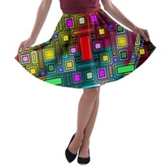 Art Rectangles Abstract Modern Art A-line Skater Skirt