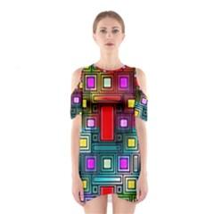 Art Rectangles Abstract Modern Art Cutout Shoulder Dress
