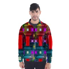 Art Rectangles Abstract Modern Art Wind Breaker (Men)