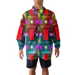 Art Rectangles Abstract Modern Art Wind Breaker (Kids)
