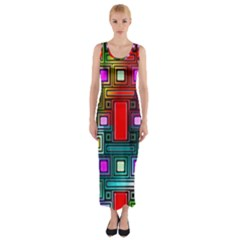 Art Rectangles Abstract Modern Art Fitted Maxi Dress