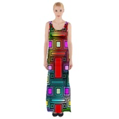 Art Rectangles Abstract Modern Art Maxi Thigh Split Dress