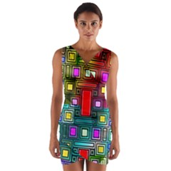Art Rectangles Abstract Modern Art Wrap Front Bodycon Dress