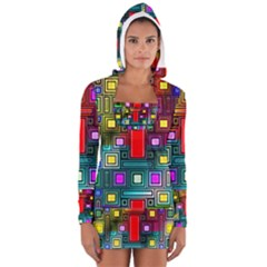 Art Rectangles Abstract Modern Art Women s Long Sleeve Hooded T-shirt