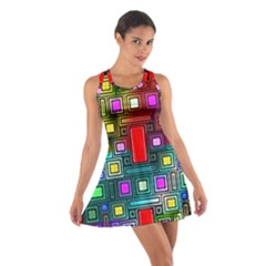 Art Rectangles Abstract Modern Art Cotton Racerback Dress