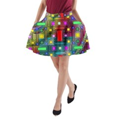 Art Rectangles Abstract Modern Art A-Line Pocket Skirt