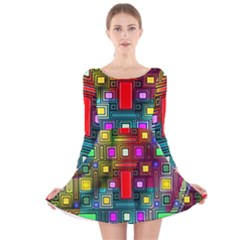 Art Rectangles Abstract Modern Art Long Sleeve Velvet Skater Dress