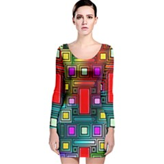 Art Rectangles Abstract Modern Art Long Sleeve Velvet Bodycon Dress