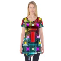 Art Rectangles Abstract Modern Art Short Sleeve Tunic