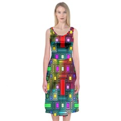 Art Rectangles Abstract Modern Art Midi Sleeveless Dress