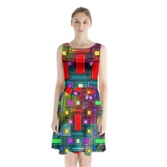 Art Rectangles Abstract Modern Art Sleeveless Chiffon Waist Tie Dress