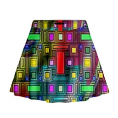 Art Rectangles Abstract Modern Art Mini Flare Skirt