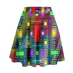 Art Rectangles Abstract Modern Art High Waist Skirt