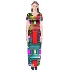 Art Rectangles Abstract Modern Art Short Sleeve Maxi Dress
