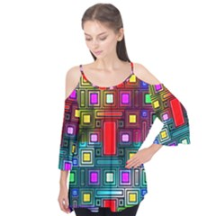Art Rectangles Abstract Modern Art Flutter Tees