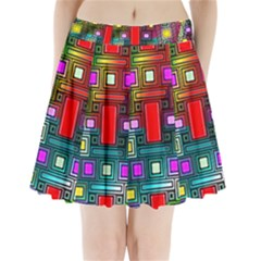 Art Rectangles Abstract Modern Art Pleated Mini Skirt
