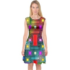 Art Rectangles Abstract Modern Art Capsleeve Midi Dress