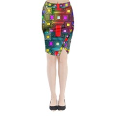 Art Rectangles Abstract Modern Art Midi Wrap Pencil Skirt